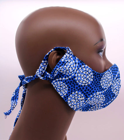 Komla I – Blue Floral Combo Tie Back and Adjustable Ear Loop Filter Pocket  Face Mask