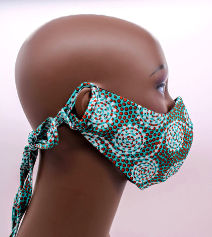 Komla II – Green Floral Combo Tie Back and Adjustable Ear Loop Filter Pocket  Face Mask