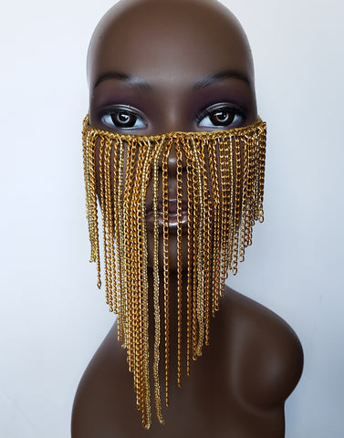 Paak - Gold Bead and Chain Face Mask Overlay