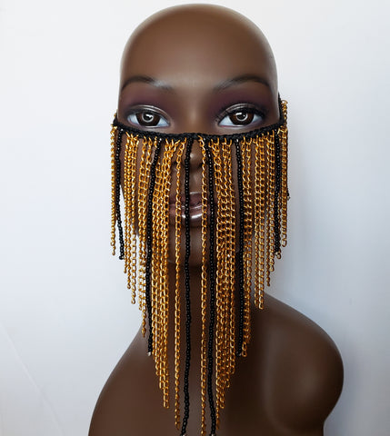 Makena - Gold and Black Bead and Chain Face Mask Overlay