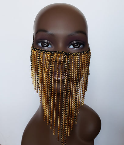 Saachee - Black Bead and Chain Face Mask Overlay