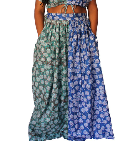 Komla – Green and Blue Floral African Print Maxi Skirt