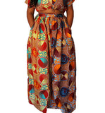 Sisi - Burnt Orange and Brown Geometric African Print Maxi Skirt