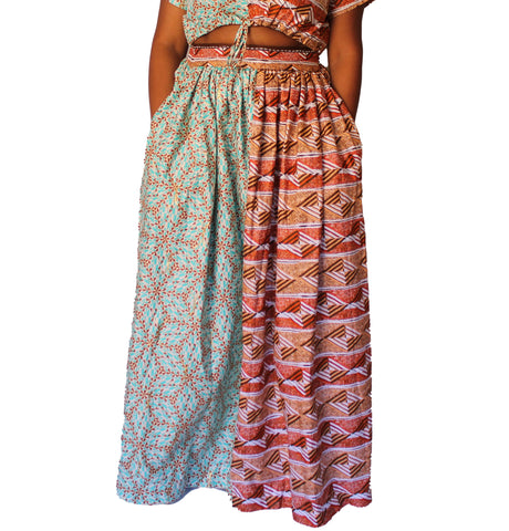 Yaw – Turquoise, Gold and Blue African Print Maxi Skirt