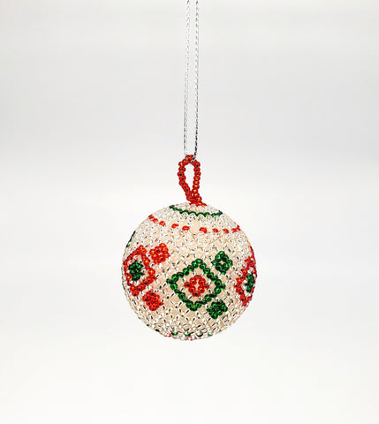 Ukhisimusi - Zulu Beaded Red Christmas Ball Ornament