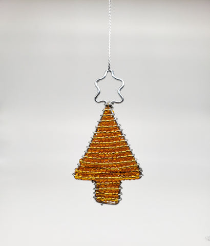 Ukhisimusi - Zulu Beaded Gold Christmas Bell Ornament