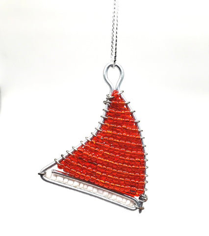 Ukhisimusi - Zulu Beaded Red Santa Claudia Hat Christmas Ornament