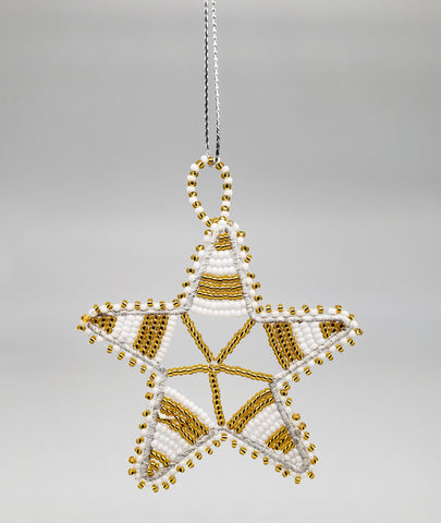Ukhisimusi - Zulu Beaded Gold Christmas Star Ornament