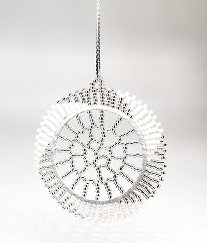 Ukhisimusi - Zulu Beaded White and Silver Snowflake  Ornament