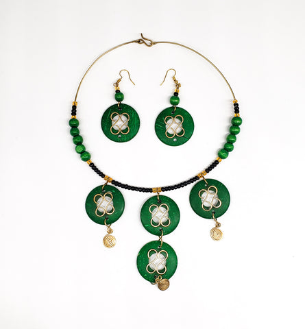 Najia - Blue and Brass Chandelier Necklace and Earring Set