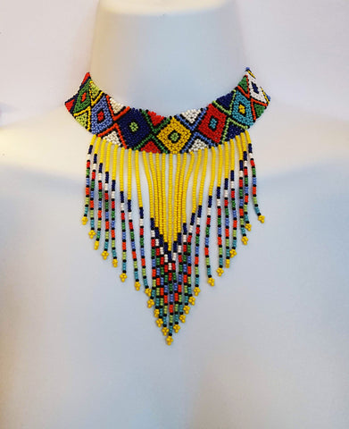 Kholwa II - Yellow Zulu Beaded Choker
