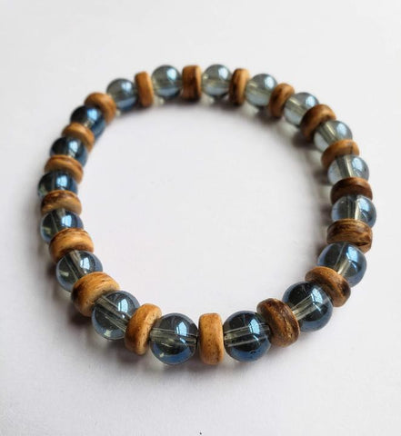 Eshe - Glass and Wooden Bead Unisex Bracelet