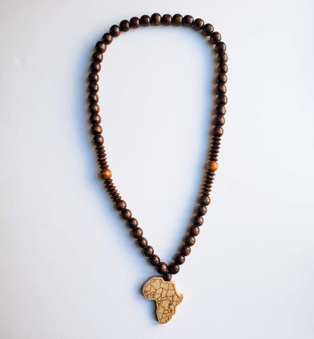 Sanaa II - Chunky Dark Brown Wooden Beaded Africa Necklace