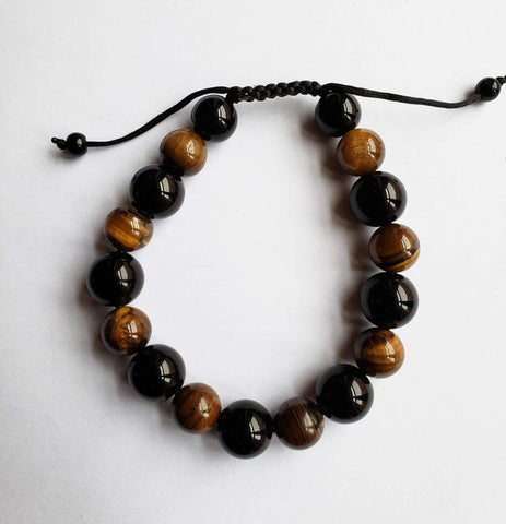 Nayla - Onyx and Tiger Eye Adjustable Bracelet