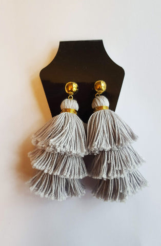 Natori III - Grey Tassel Earrings