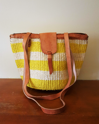 Koigi - Yellow and White Handwoven Straw Kiondo Tote Bag
