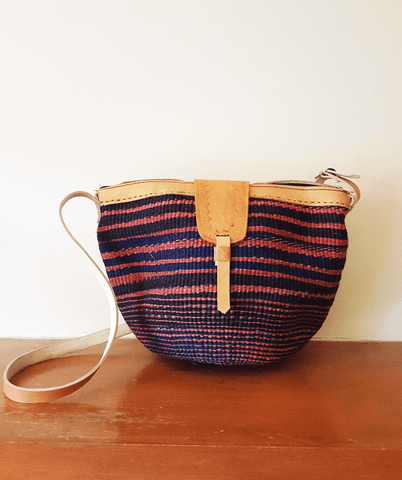 Mugi - blue and Red Handwoven Straw Kiondo Shoulder Bag