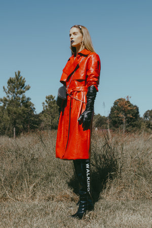 Taste in Red Faux Crocodile Trench Coat
