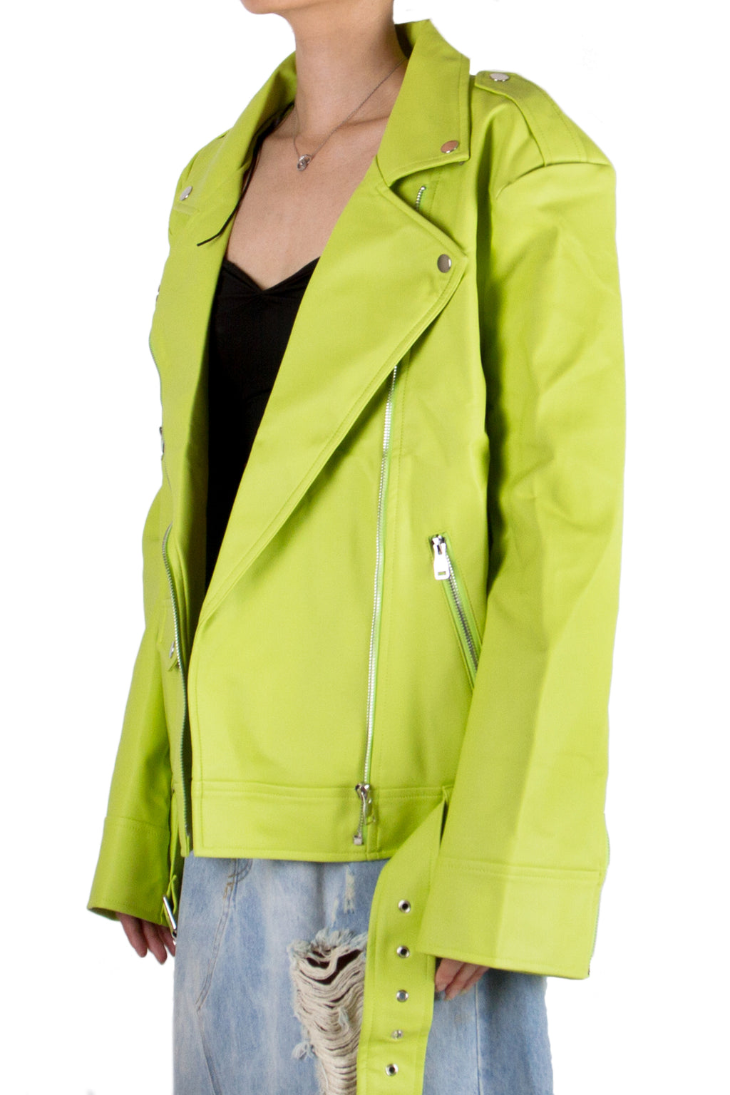 Lime Green Oversized Biker Jacket