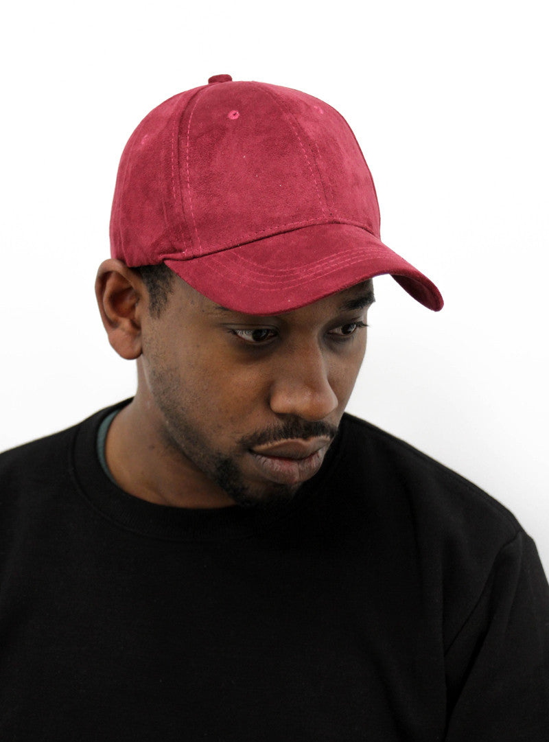 Essential Suede Baseball Cap | Burgundy