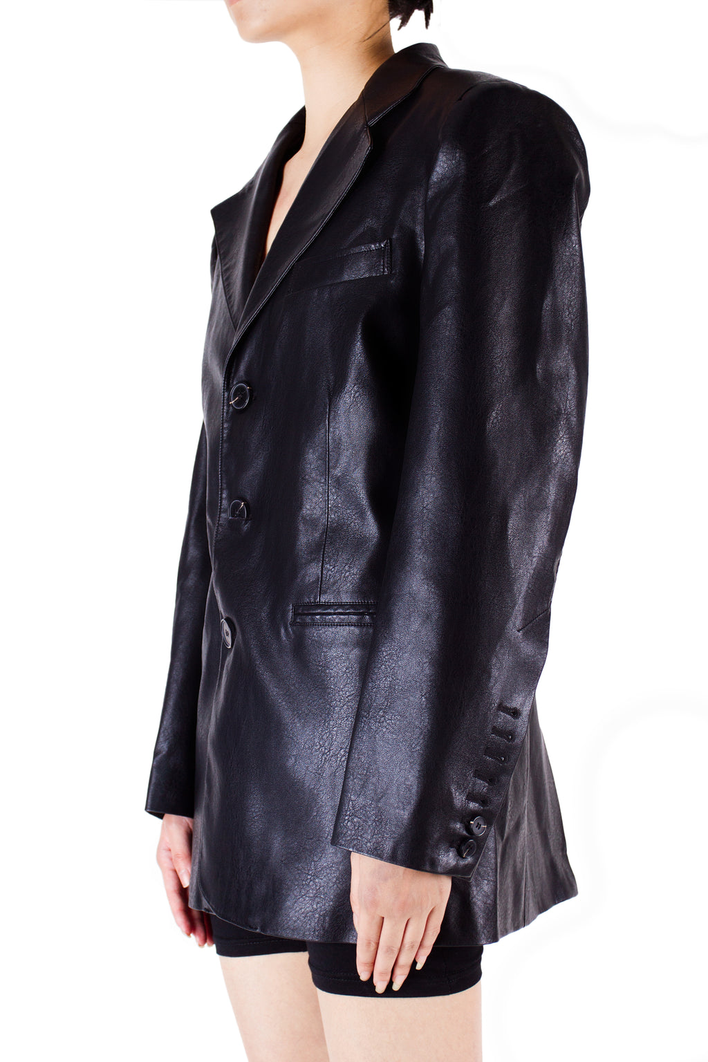 Essential Oversized Faux Leather Blazer