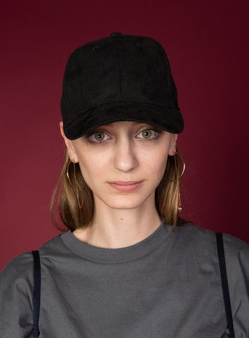 Essential Suede Baseball Cap | Black