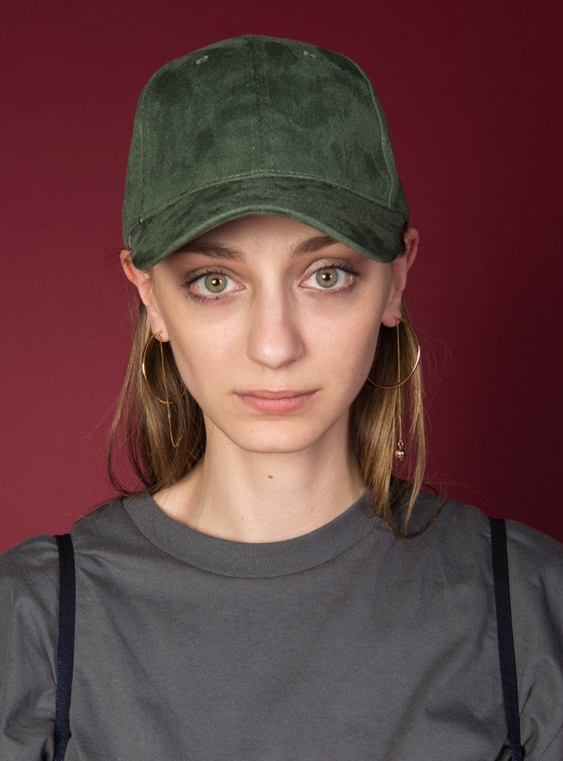 Essential Suede Baseball Cap | Green