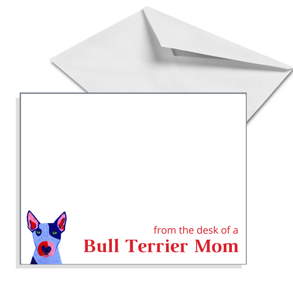 Set of 8 or 16 Bull Terrier Personalized Flat Note Cards