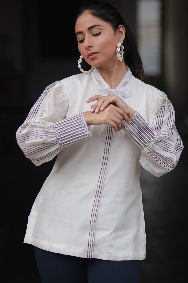 Voluminous Sleeve Shirt - Off White - upasanagupta