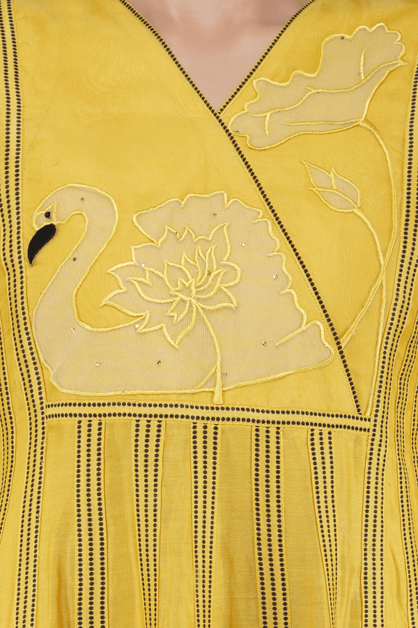 Handcrafted Chanderi Anarkali Kurta Set - Yellow - upasanagupta