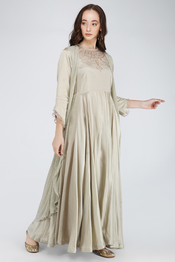 Wrinkle Heavy Embroidered Dress- Beige