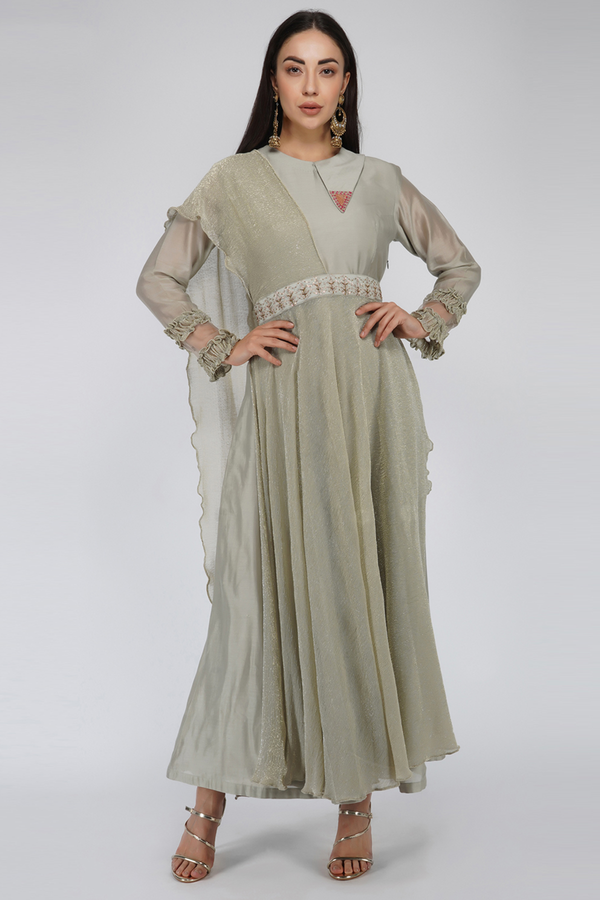 Silk Chanderi and Wrinkle Flaired Dress- Beige
