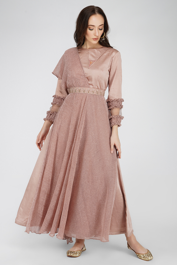 Silk Chanderi and Wrinkle Flaired Dress- Onion