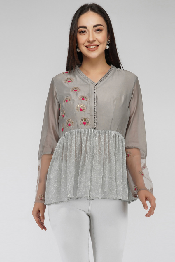 Embroidered Peplum Top- Grey