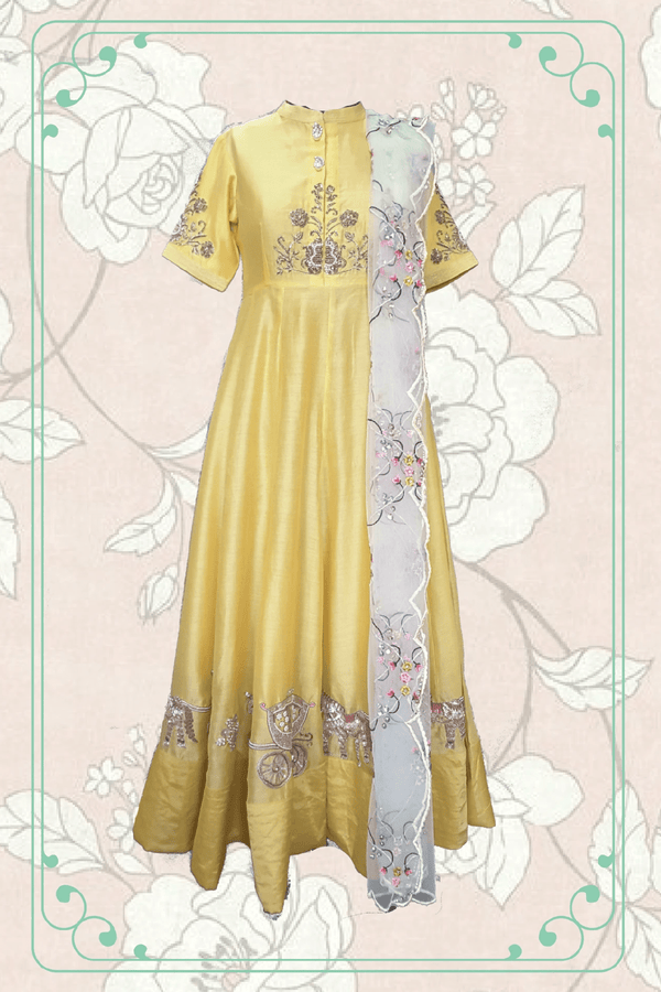 Heavy Anarkali Suit with Horse Charriot Embroidery - upasanagupta