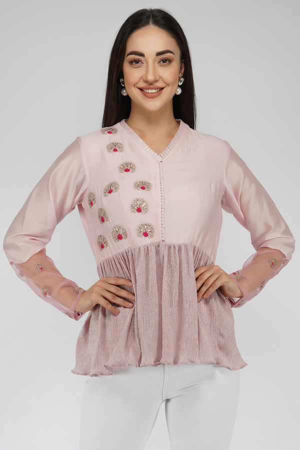 Embroidered Peplum Top- Lilac