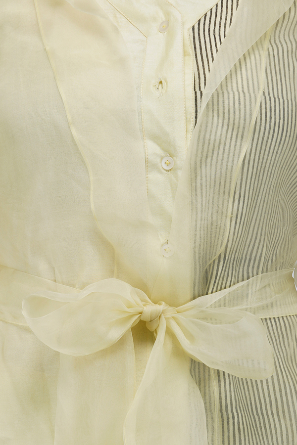 Organza Jacket Shirt - Lemon Yellow - upasanagupta