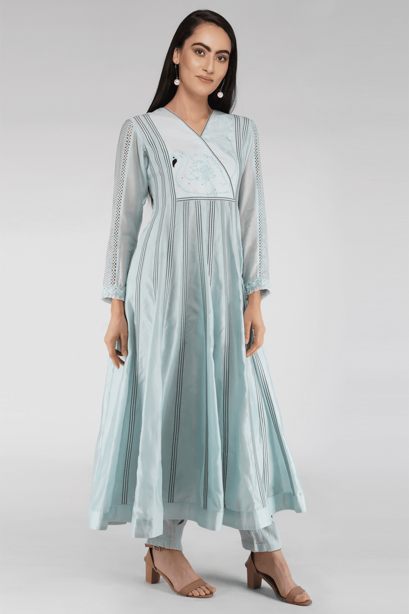 Handcrafted Chanderi Anarkali Kurta Set - Ice Blue - upasanagupta