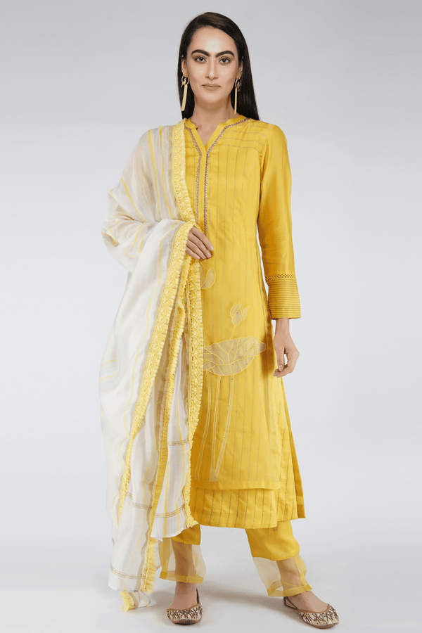 Handmade Chanderi Kurta Set - Yellow - upasanagupta