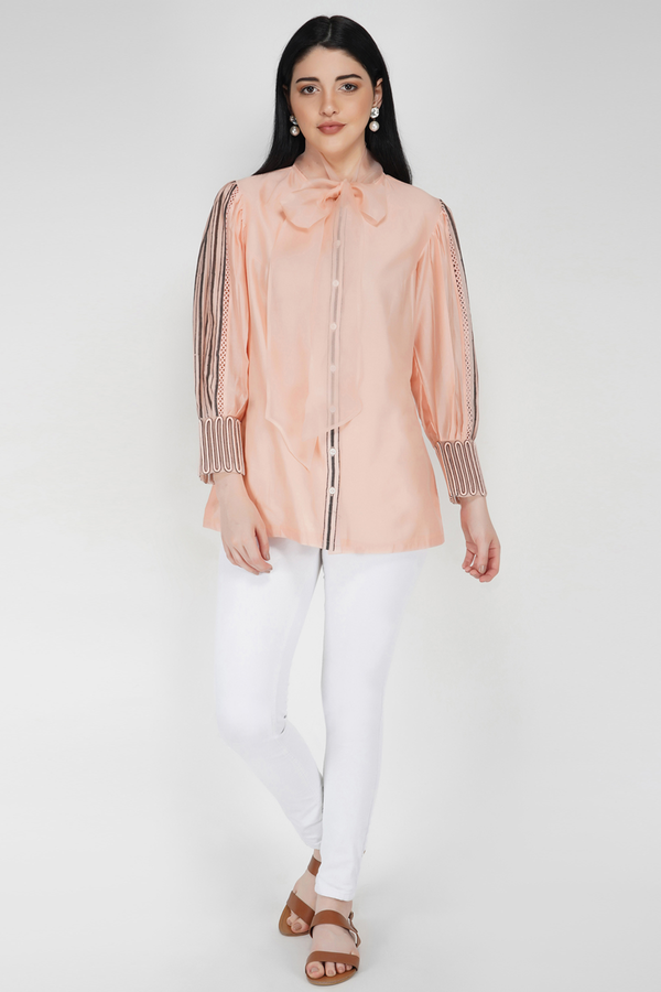 Voluminous Sleeve Shirt - Baby Pink - upasanagupta