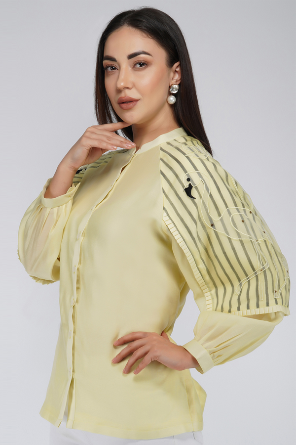 Shirt with Flap Sleeves and Minimal Embroidery - Lemon Yellow - upasanagupta