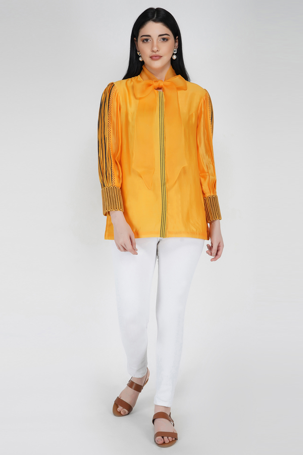 Voluminous Sleeve Shirt - Turmeric Yellow - upasanagupta