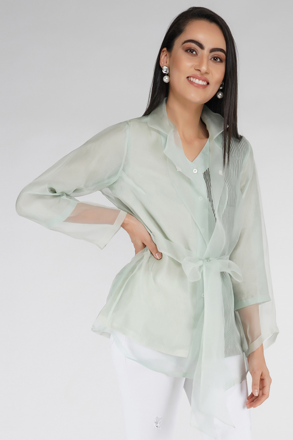 Organza Jacket Shirt - Mint Green - upasanagupta