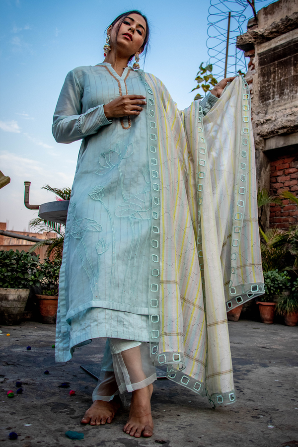 Kurta Set with Embroidery and Digital printing- Ice Blue - upasanagupta