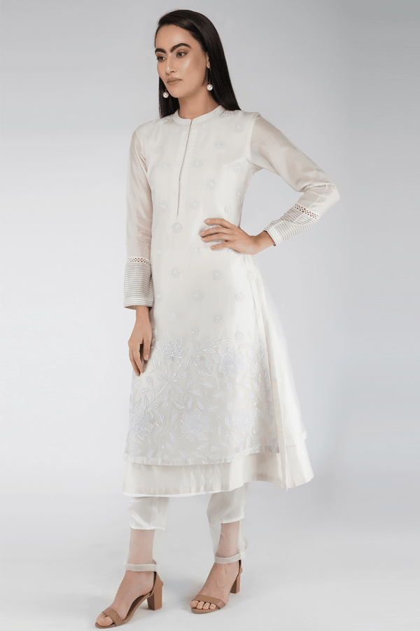 Handmade Chanderi Kurta Set- Off White - upasanagupta