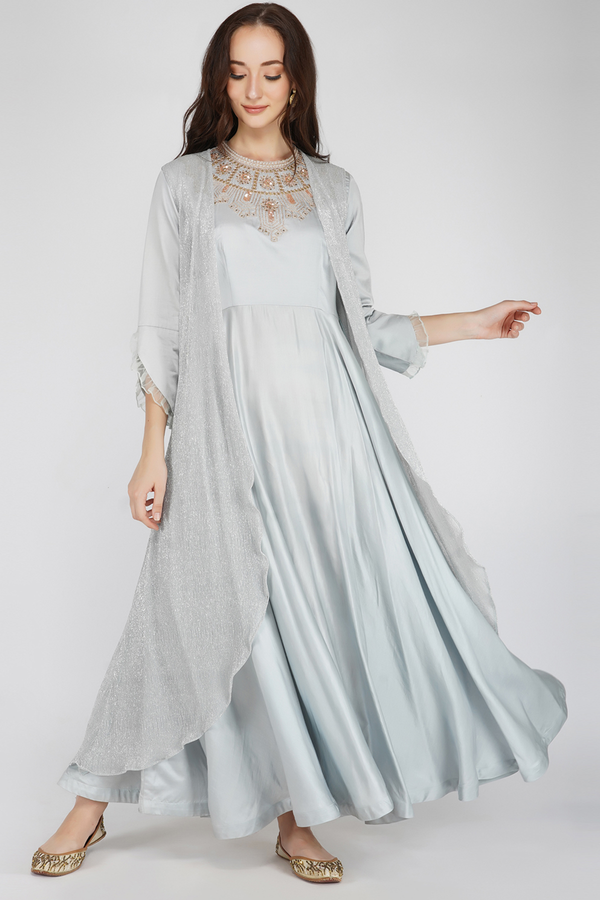 Wrinkle Heavy Embroidered Dress- Grey