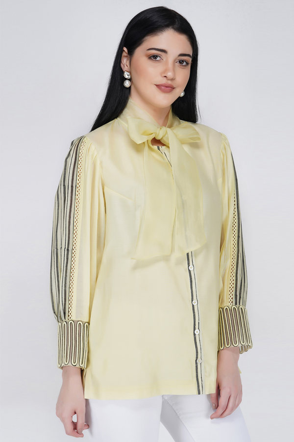 Voluminous Sleeve Shirt - Lemon Yellow - upasanagupta