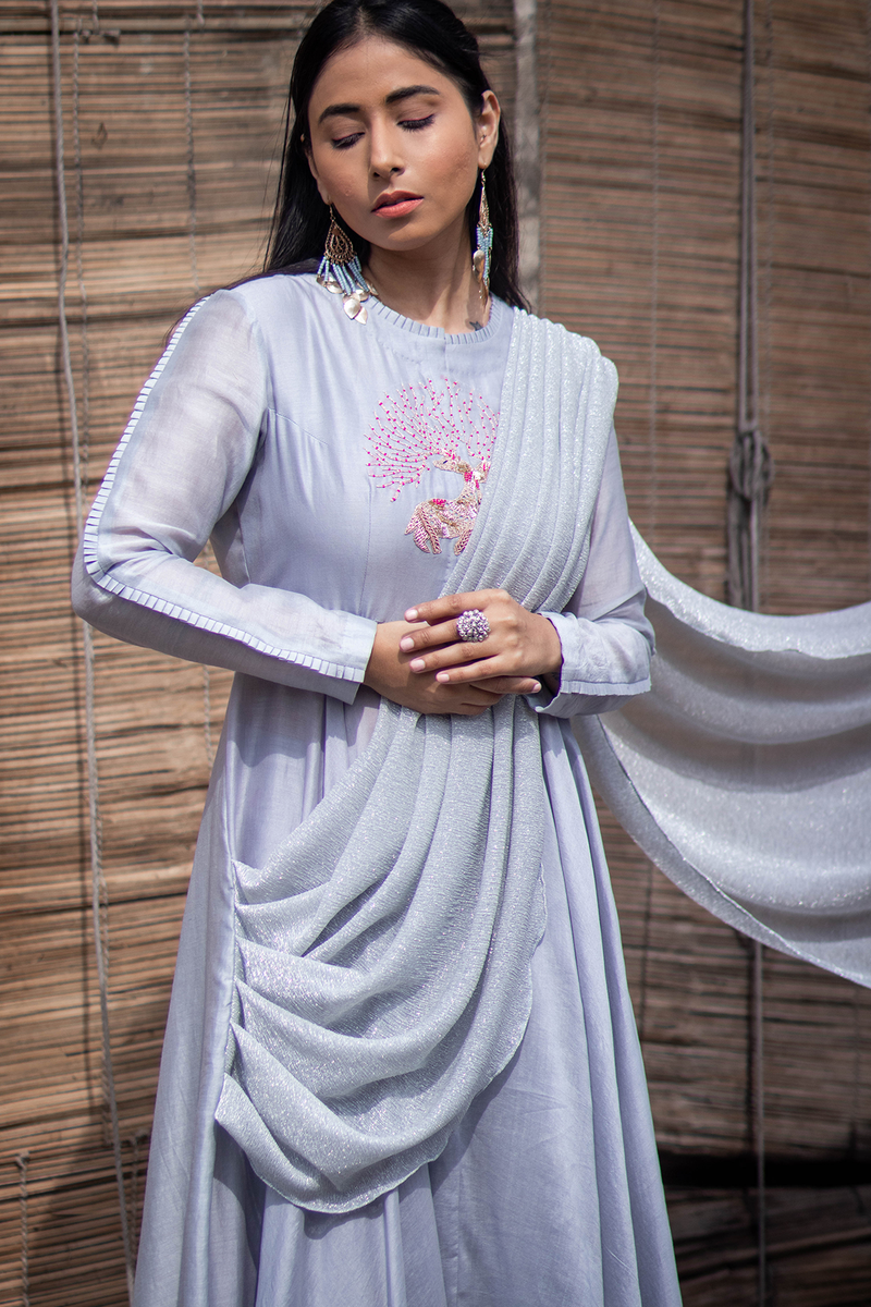 Silk Chanderi Pin On Drape Dress- Grey