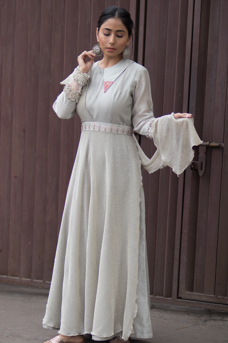 Silk Chanderi and Wrinkle Flaired Dress- Grey