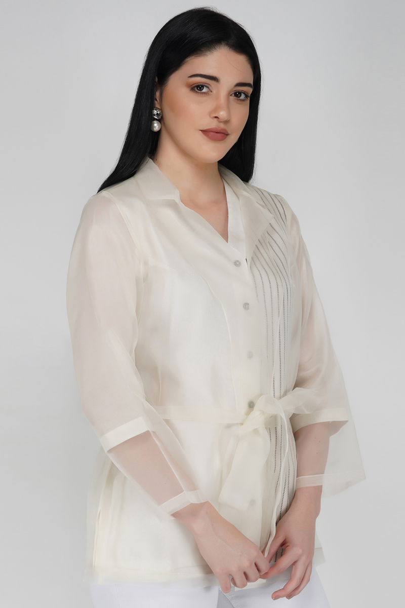 Organza Jacket Shirt - Off White - upasanagupta
